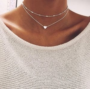 Two-Piece Silver Heart & Choker Necklaces